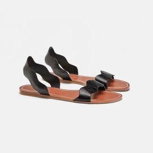 Zara leather sandal w/ wavy straps